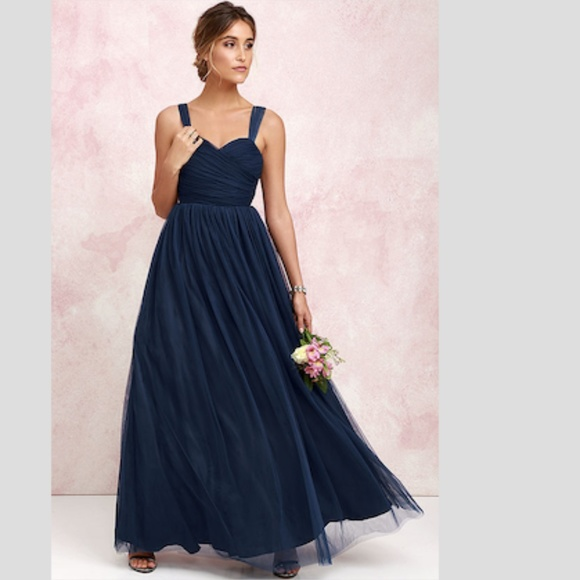 3510a2642 Lulu's Dresses | Nwt Lulus Sunday Kind Of Love Navy Blue Tulle Gown ...